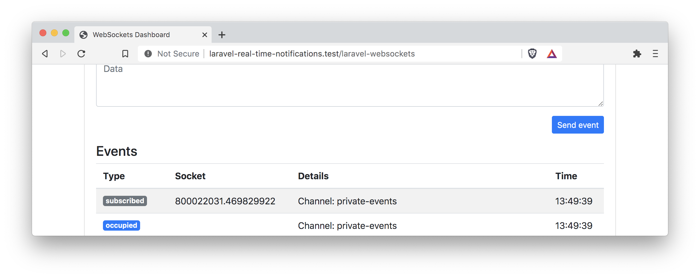 Debug Dashboard subscribed to private events channel