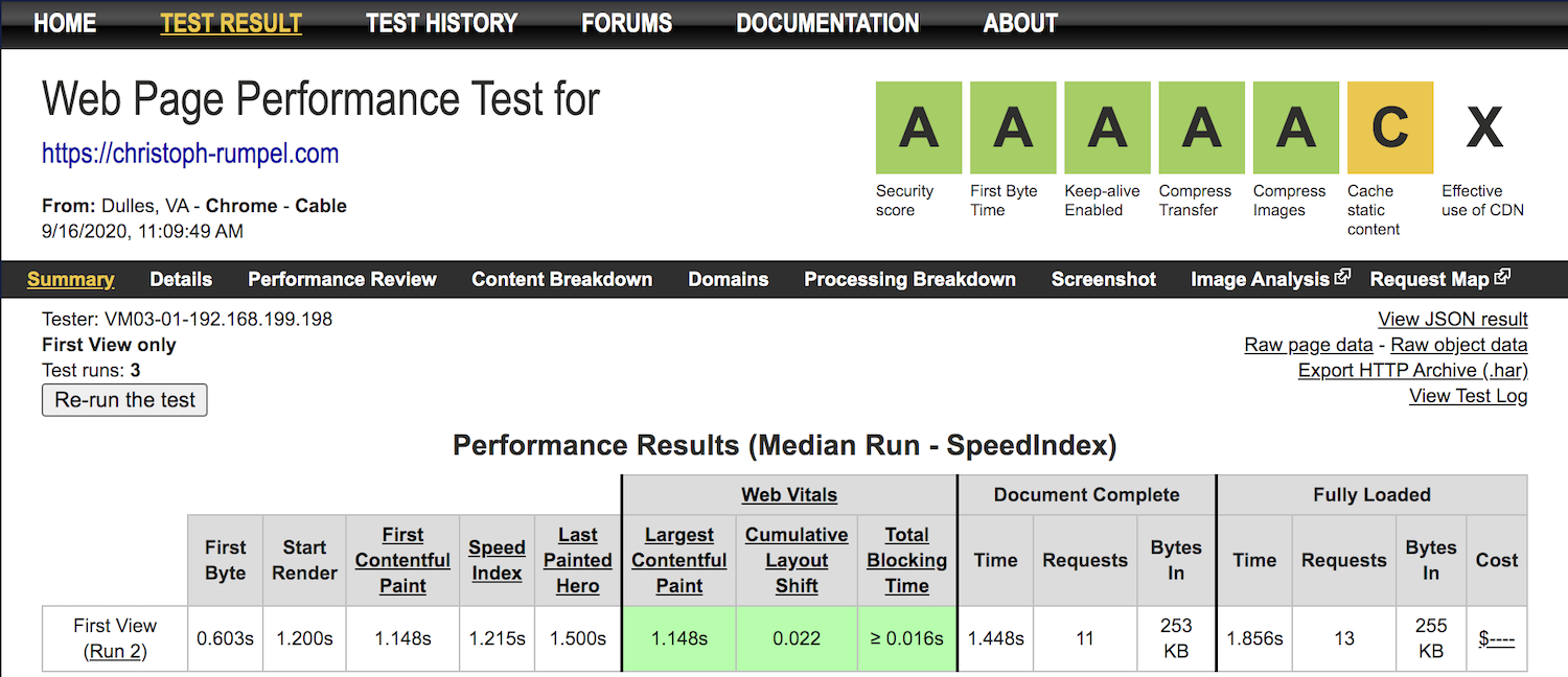 WebpageTest Speed stats from my home page