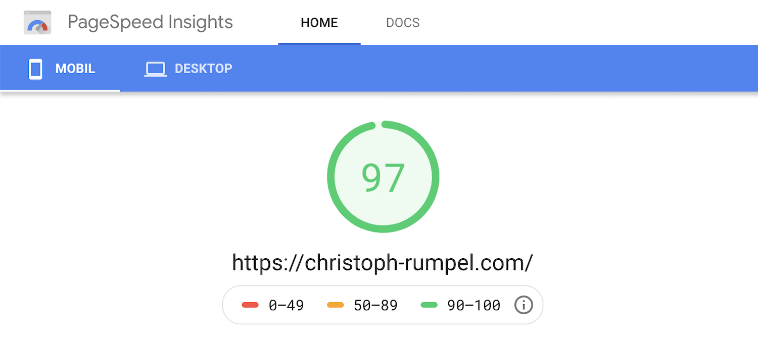 Google Page Speed stats from my home page