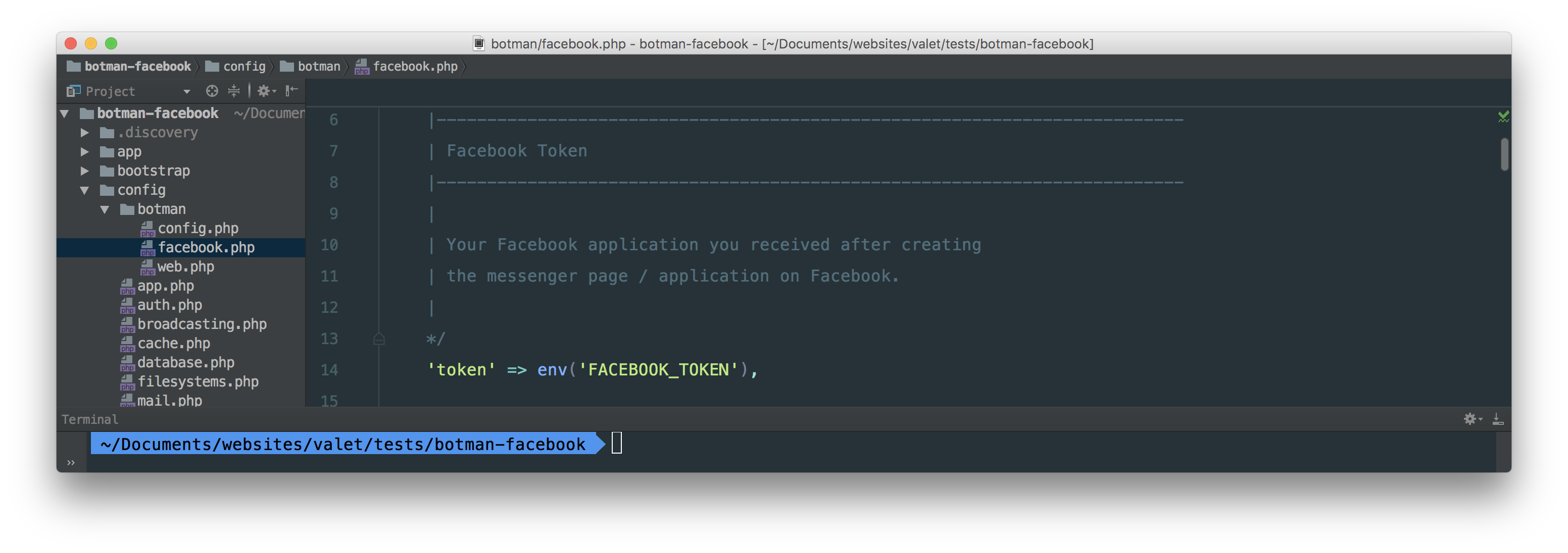 Screenshot showing facebook botman config file