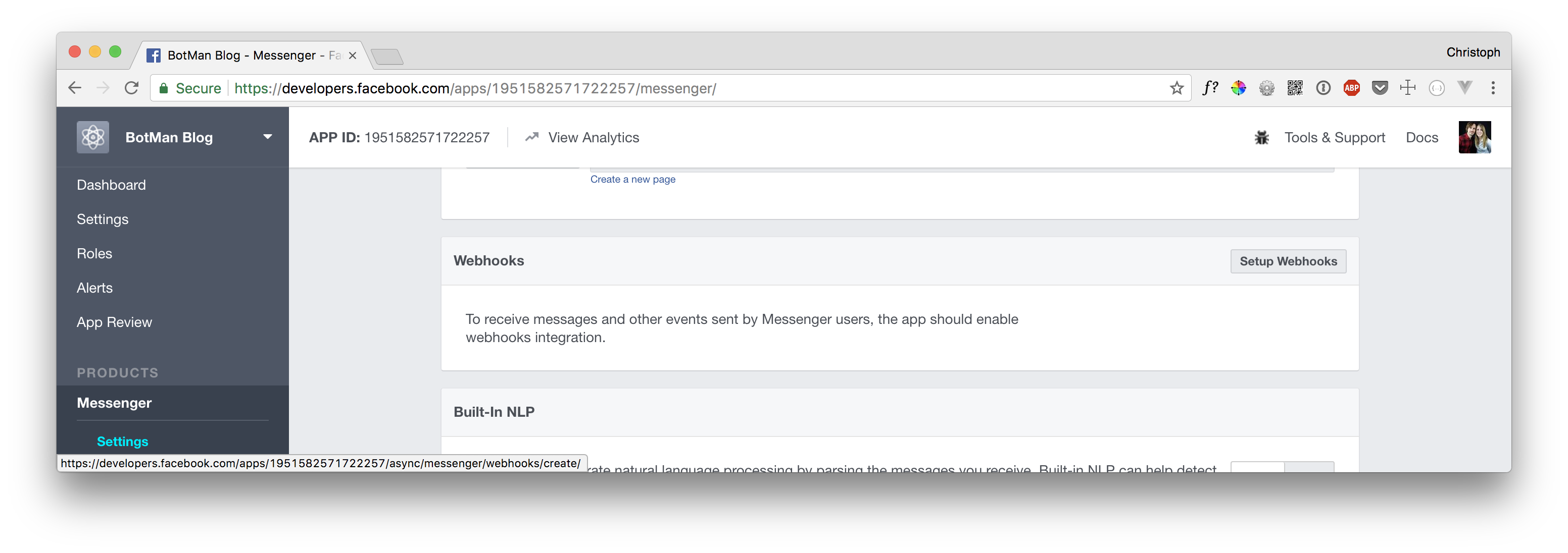 Screenshot of the Facebook app webhook options