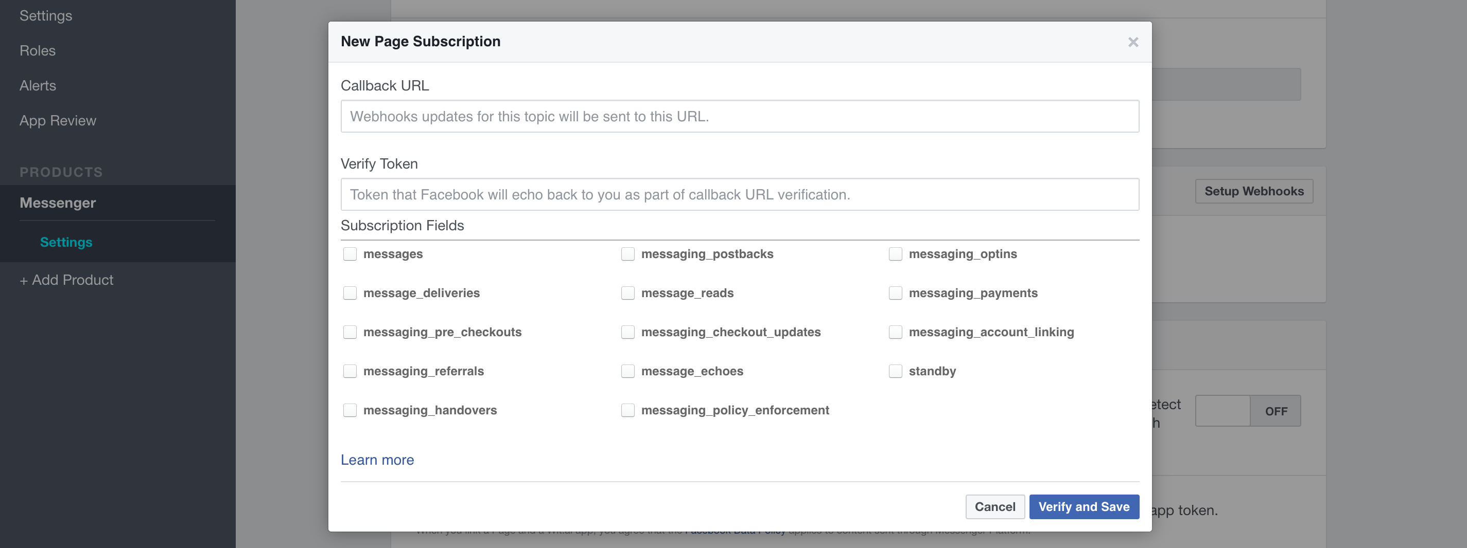 Screenshot of the webhook options