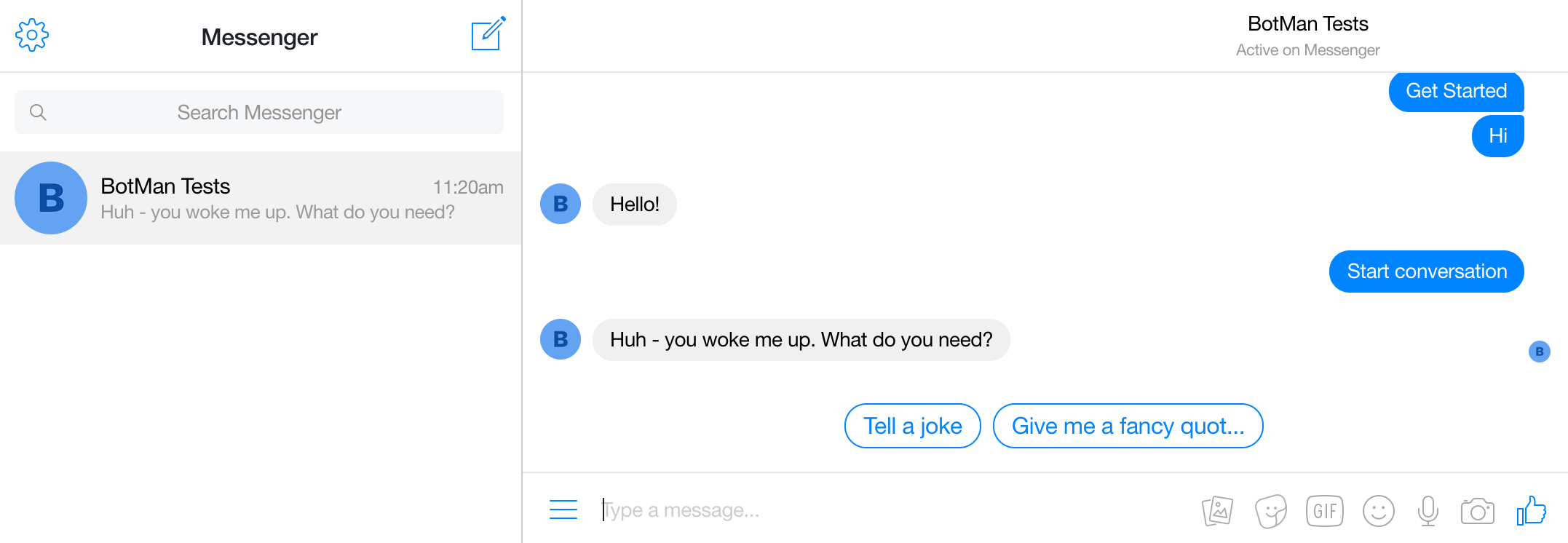 Screenshot showing how to test the BotMan example conversation