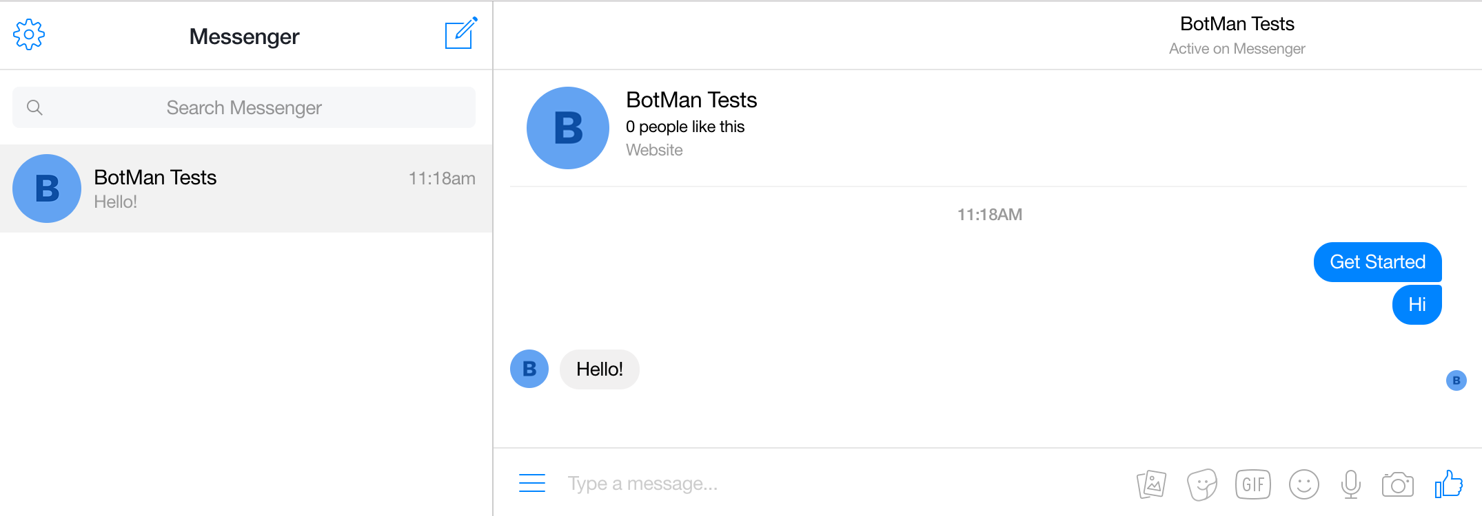 Screenshot showing a message and a reply in Facebook Messenger.
