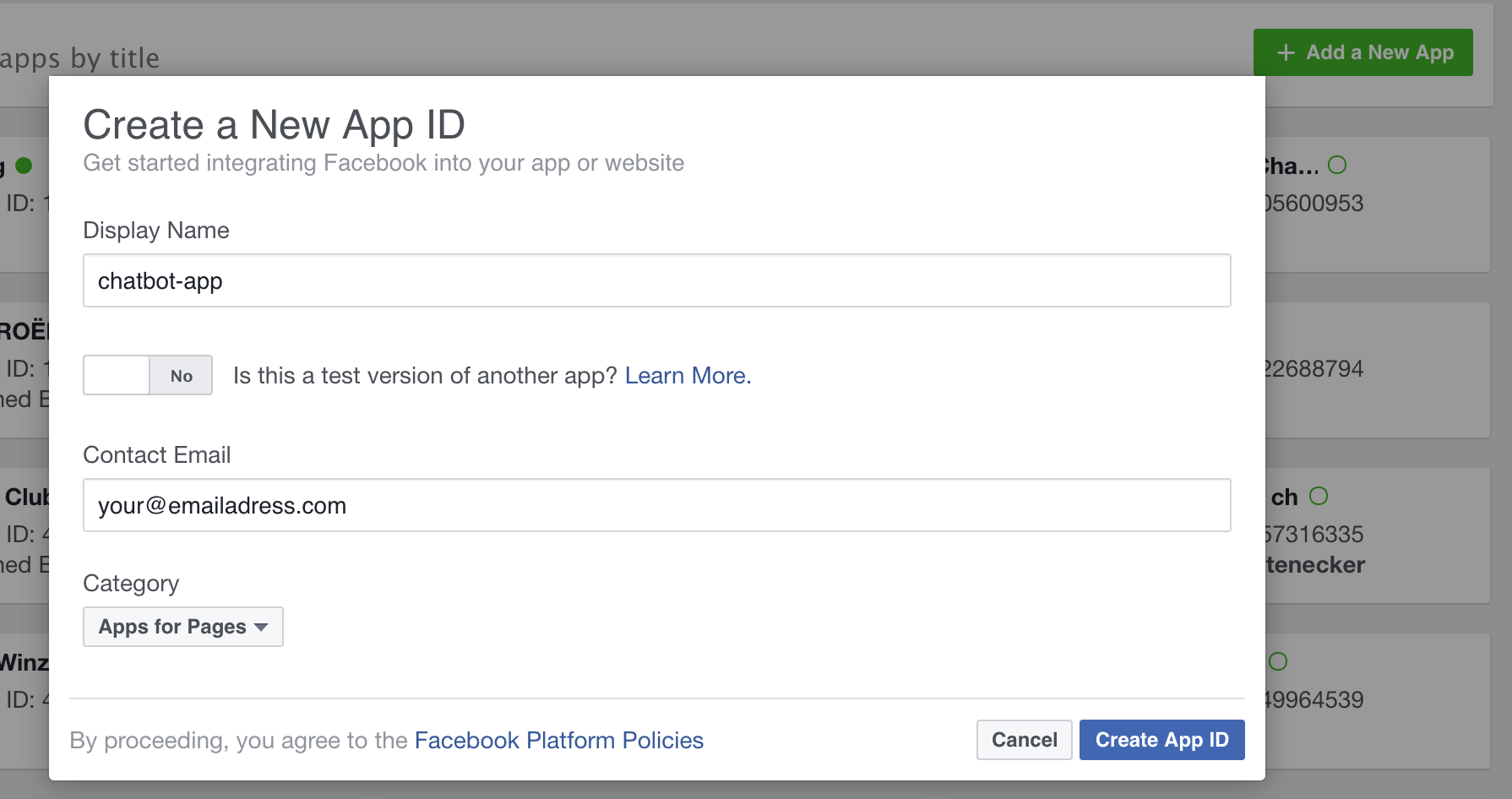 Screenshot showing how to create FB app
