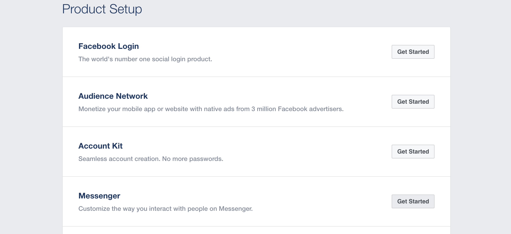 Screenshot showing Facebook app product