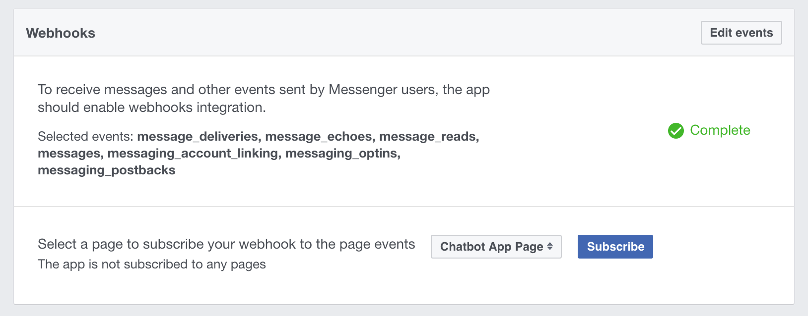 Screenshot showing Facebook App Page Subscription