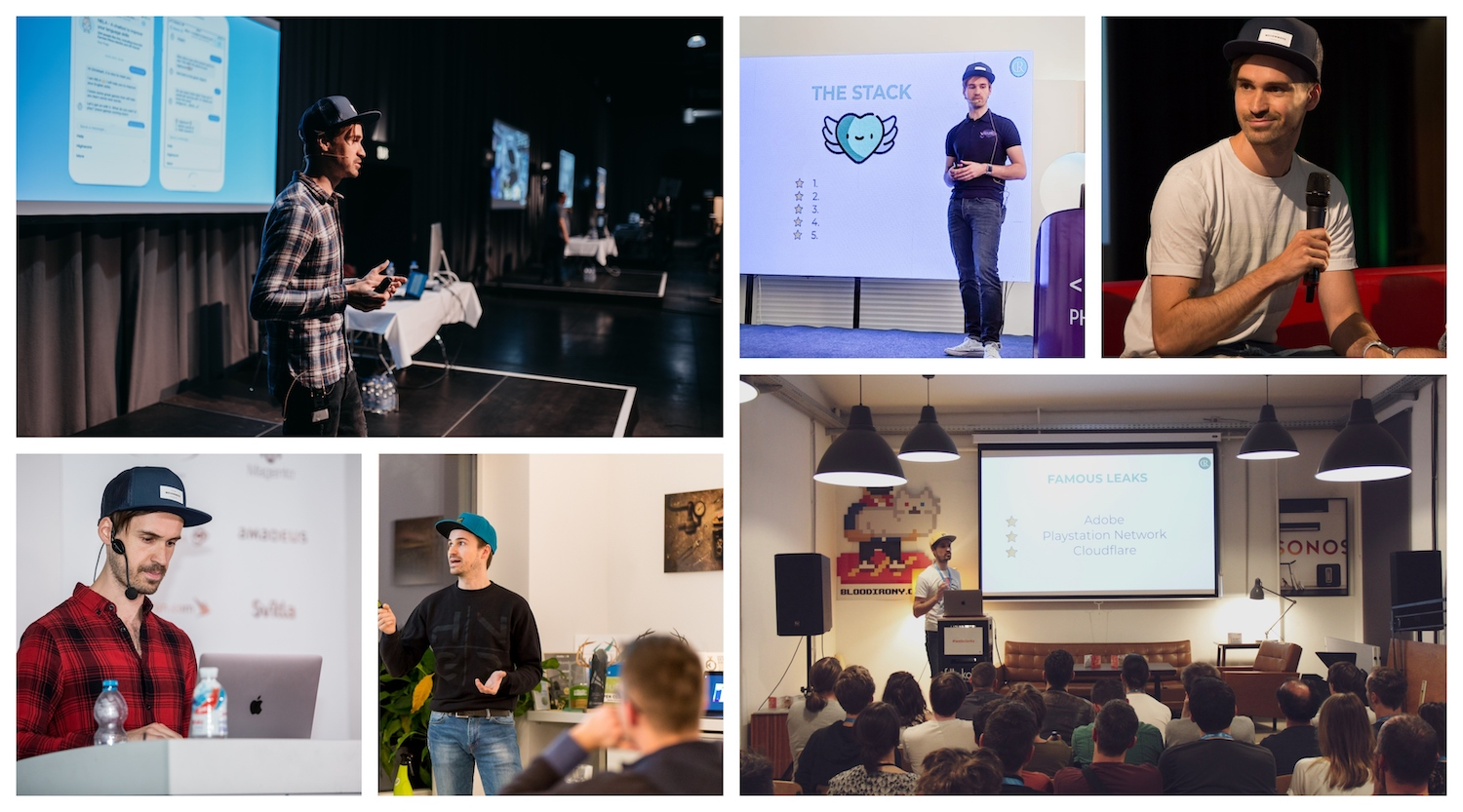 Collage of photos with Christoph as a speaker