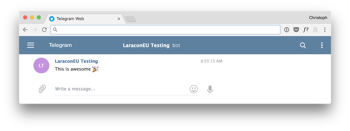 Screenshot showing a chatbot saying awesome