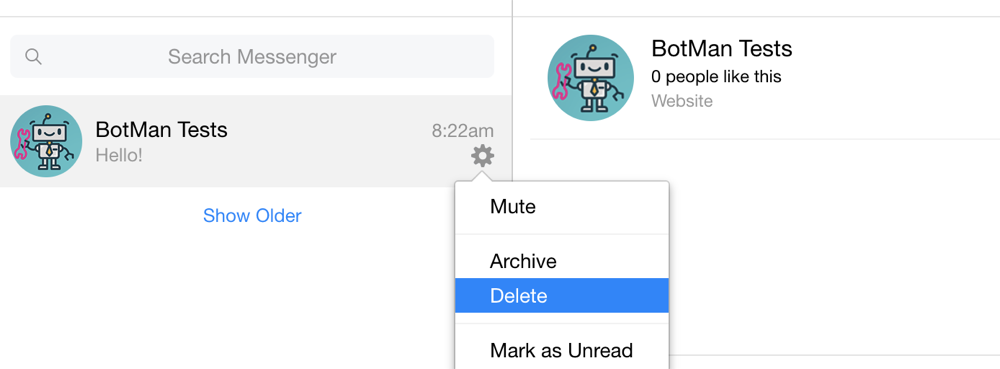 Screenshot showing how to delete a Facebook Messenger conversation