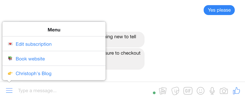 Screenshot showing our chatbots menu
