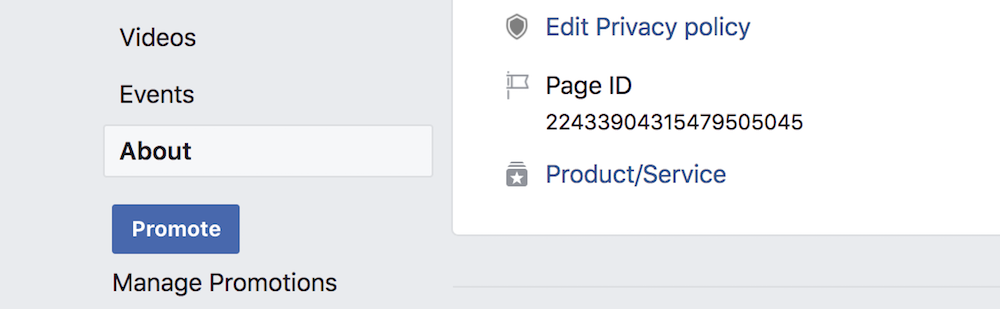 Screenshot of the about section of a Facebbok page which holds the ID