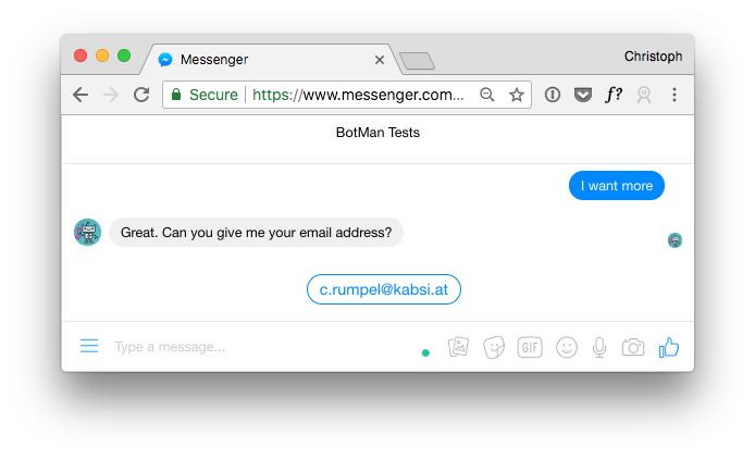 Screenshot showing quick replies with email address