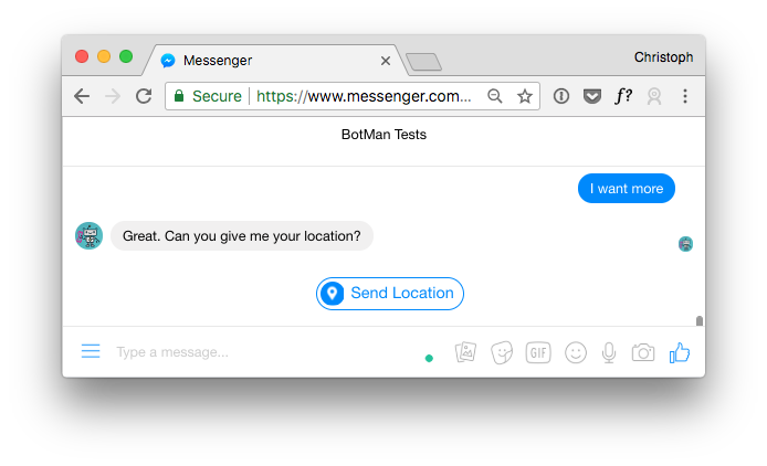 Screenshot showing quick replies with location