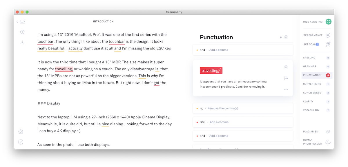 Screenshot showing Grammarly tool in action