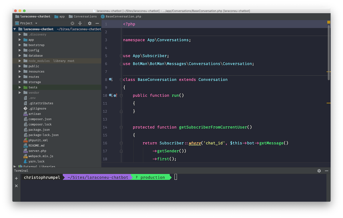 Screenshot showing my PhpStorm color theme