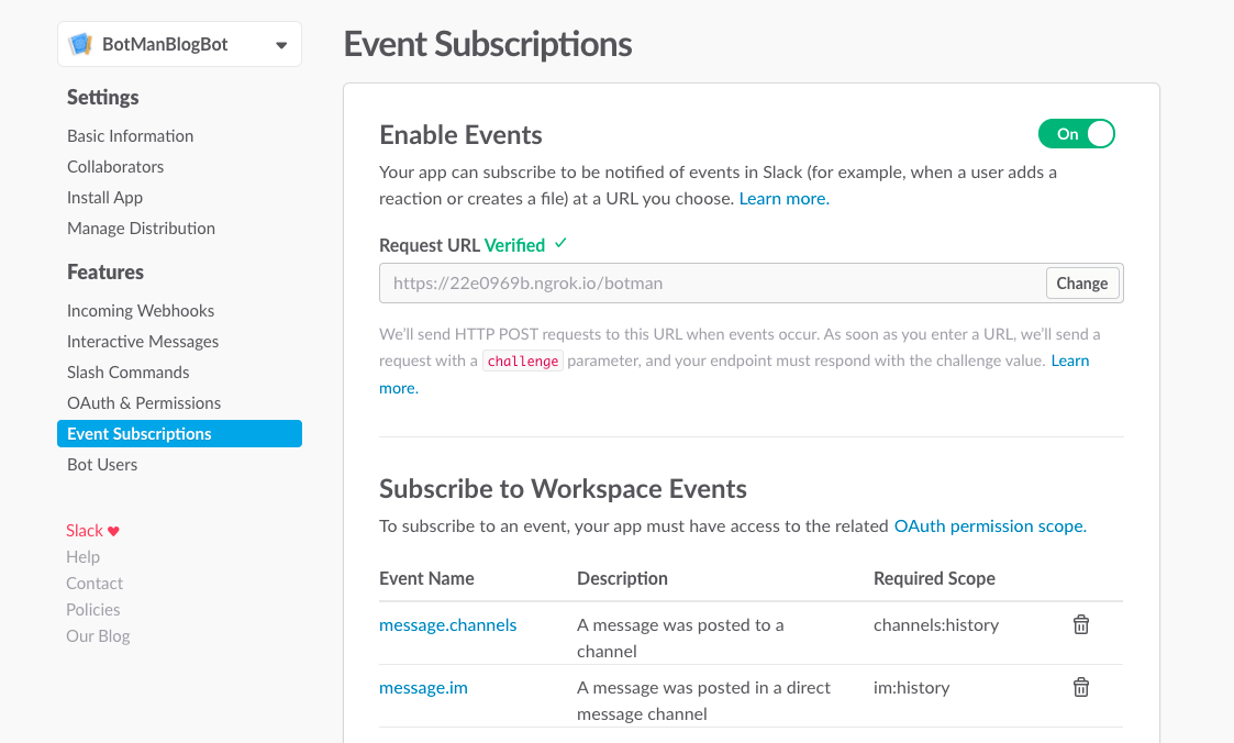 Subscribe to Slack events