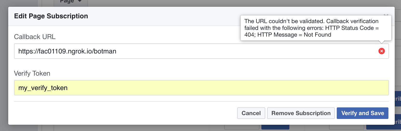 Facebook message error validating verification code